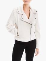 Max Studio Faux Fur Biker Jacket, Ivory