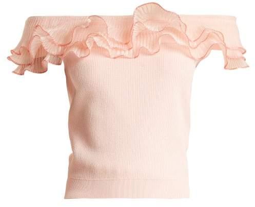 Alexander McQueen Ruffle Trim Off The Shoulder Top - Womens - Light Pink