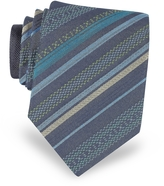 Missoni Navy Blue Diagonal Stripe Woven Silk Narrow Tie