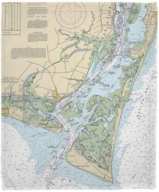 Island Girl Home, Inc. Bald Head Island, Nc Nautical Chart Fleece Throw Blanket