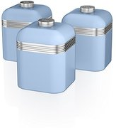 Swan Retro Storage Canisters, Blue, 3-Piece