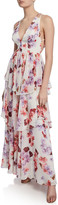 Fame & Partners Floral-Print Plunge-Neck Strappy-Back Tiered Georgette Dress