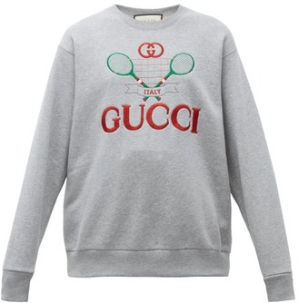 Gucci Tennis Logo-embroidered Cotton Sweatshirt - Womens - Grey Multi