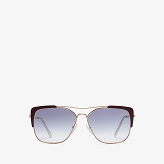 Prada 0PR 54VS (Rose Gold/Bordeaux/Clear Gradient Blue) Fashion Sunglasses