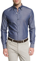 Ermenegildo Zegna Polished Solid Long-Sleeve Sport Shirt, Navy