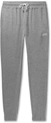 HUGO BOSS Tapered Double-Faced Melange Cotton-Blend Jersey Sweatpants