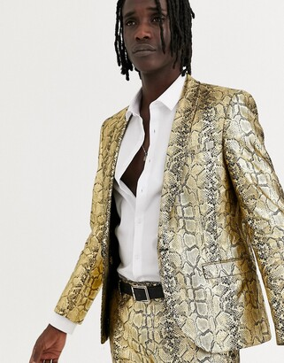 Twisted Tailor skinny suit jacket in gold snake print
