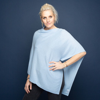 Tilley & Grace - Baby Blue Cashmere Poncho - baby blue - Baby blue