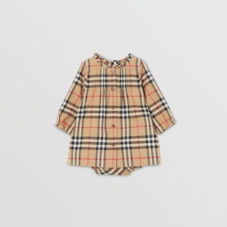 Burberry Childrens Vintage Check Cotton Dress with Bloomers