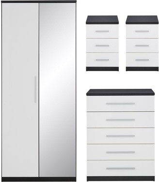 Messina 4 PieceGloss Package - 2 Door Mirrored Wardrobe, 5 Drawer Chest, 2Bedside Chests - Black/White