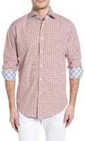 Thomas Dean Men's Classic Fit Textured Check Sport Shirt