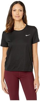 Nike Miler Top Short Sleeve (Black/Reflective Silver) Women's Clothing