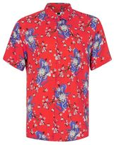 Topman Red Snake Print Short Sleeve Viscose Shirt