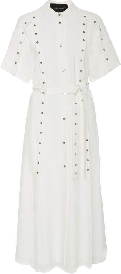 Cédric Charlier Stud-Detailed Belted Crepe Midi Shirt Dress