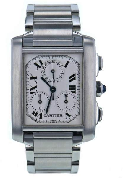 Cartier Tank Francaise 2303 Stainless Steel White Dial 28mm Men's Watch