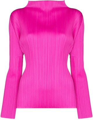 Pleats Please Issey Miyake Plisse High Neck Top