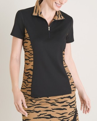 Zenergy UPF Animal-Print Polo Shirt