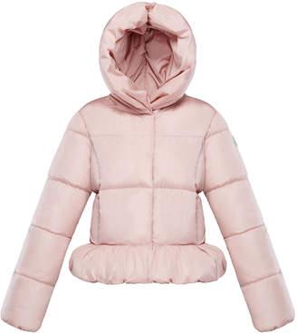 Moncler Cayolle Hooded Ruffle Hem Puffer Jacket, Size 4-6