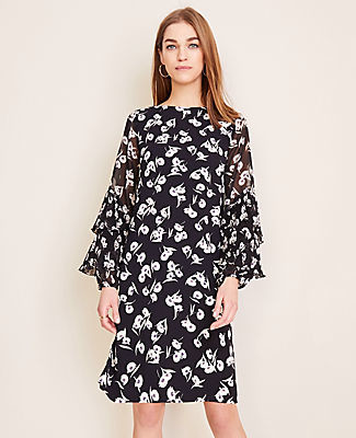 Ann Taylor Petite Poppy Ruffle Sleeve Shift Dress