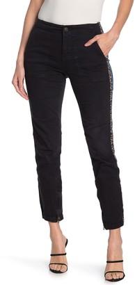 Pam And Gela Leopard Print Racer Stripe Cargo Pants