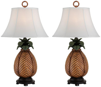 Studio 21 Seahaven Pineapple Table Lamp, Set Of 2, Antique Brown