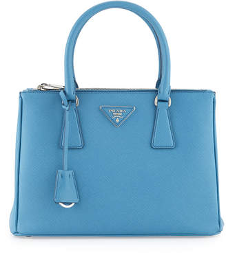 Prada Saffiano Lux Small Double-Zip Tote Bag, Light Blue (Mare)