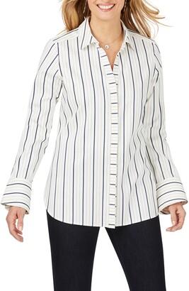 Foxcroft Kyla Stretch Non-Iron Sateen Stripe Shirt