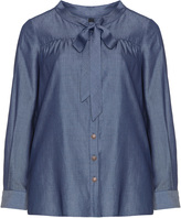 Manon Baptiste Plus Size Tiffany pussybow denim blouse
