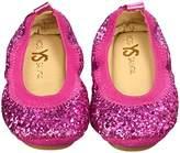 Yosi Samra Girls Sonya Obbre Chunky Glitter Slip on Ballet Flat (Toddler)