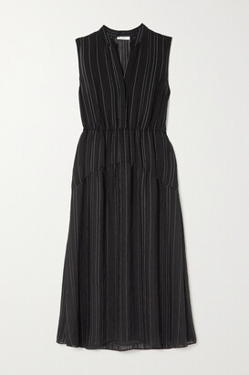 Vince Tiered Pinstriped Woven Midi Dress