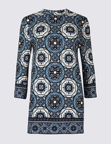 Classic Mosaic Print Round Neck 3/4 Sleeve Tunic