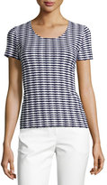 Armani Collezioni Striped Jacquard Short-Sleeve Sweater, Navy/White