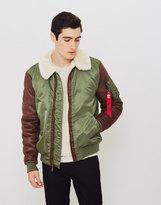 Alpha Industries B3-M Faux Leather Flight Jacket Green