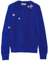 Preen by Thornton Bregazzi Sofie Crystal-embellished Cutout Cotton Sweater - Bright blue