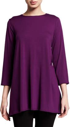 Eileen Fisher Petite Crewneck 3/4-Sleeve Jersey Swing Tunic