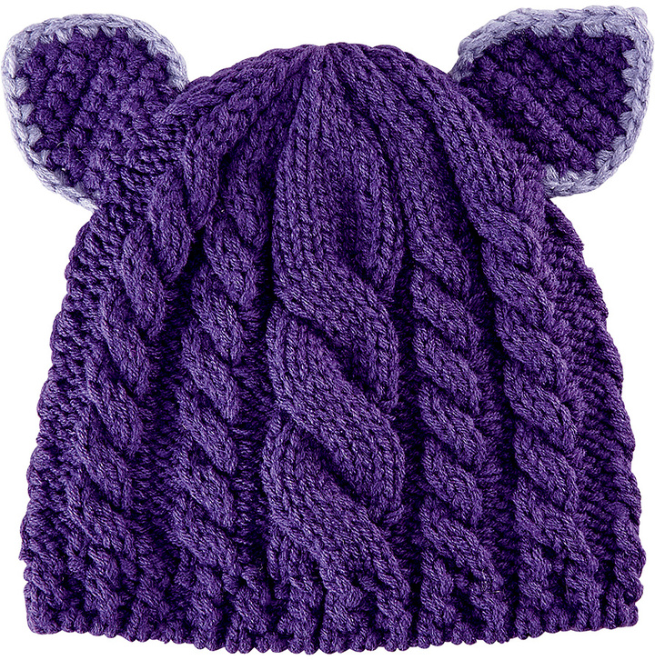 San Diego Hat Company Purple Cable-Knit Animal Ear Beanie
