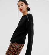 New Look button neck jumper in black