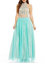 B. Darlin Mock Neck Illusion-Yoke Beaded Top Two-Piece Ball Gown