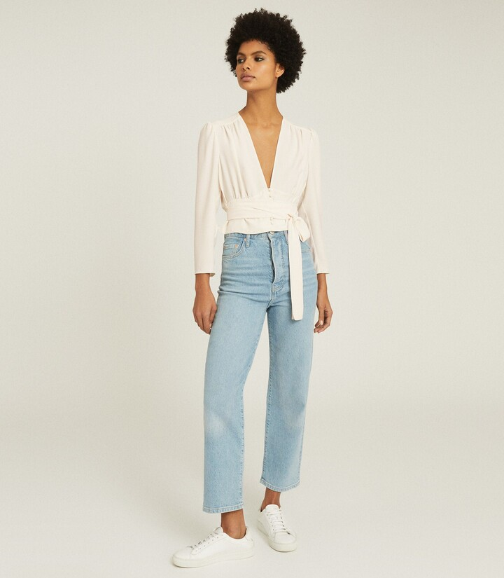 Thumbnail for your product : Reiss Alena - Plunge Button Detail Blouse in Ivory