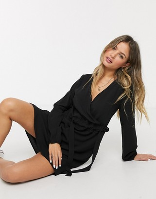 JDY wrap mini dress in black