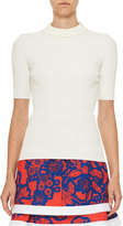 Carven Short-Sleeve Ribbed Stretch Jersey Top, White