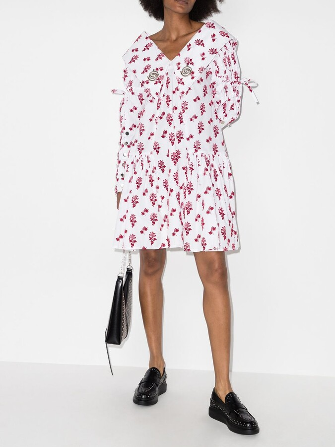 Thumbnail for your product : Chopova Lowena White Flocked Floral Print Flared Dress