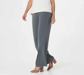 Susan Graver Petite Liquid Knit Pull-On Pleated Flare Leg Pants