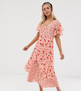 Lily & Lionel Exclusive tiered maxi dress in floral print-Pink