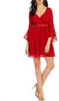 I.N. San Francisco Juliet-Sleeve Surplice A-line Dress