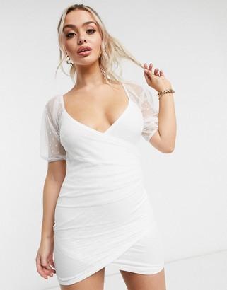 ASOS DESIGN dobby mesh puff-sleeved wrap mini dress in white
