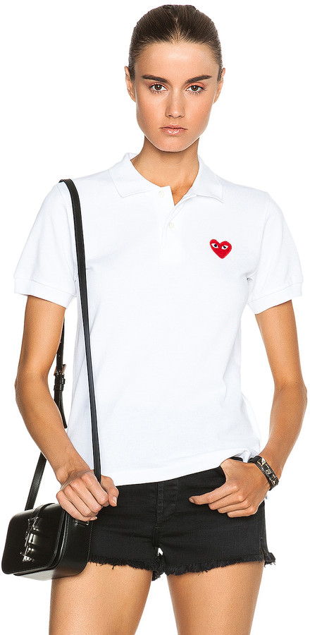 Comme des Garcons Cotton Polo with Red Emblem in White | FWRD