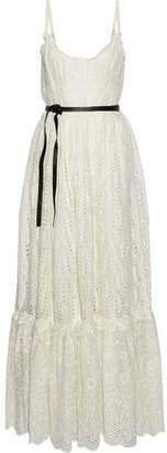 Valentino Belted Leather-trimmed Broderie Anglaise Cotton-blend Maxi Dress