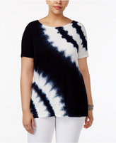 INC International Concepts Plus Size Studded Tie-Dyed Top, Created for Macy's