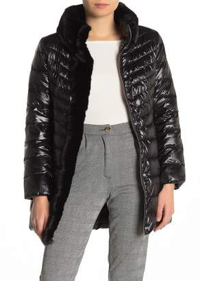 Karl Lagerfeld Paris Faux Fur Collar Quilted Puffer Jacket